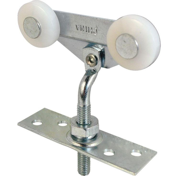 "Pocket door roller Tandem wheels Top hung Offset adjustable bracket Convex edge nylon wheels Fit 3/4"" to 1-3/8"" thick doors Fits Harvey 3/4"" diameter wheels Carded Material: Plastic Finish: Textured"