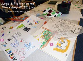 """Worskshop """"Logos & Pictogramme entwerfen"""" findet im WIFI - Linz, Österreich statt. Mehr dazu unter www.connywolf.com"""