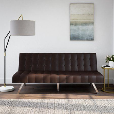 Mainstays Faux Leather Tufted Convertible Futon Brown Walmart Com Stylish Sofa Bed Futon Cozy Couch