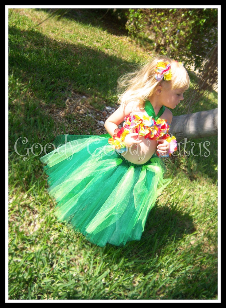 ISLAND GIRL Hawaiian Hula Girl Inspired Tutu and Flowered Top with Matching Hair Clippies & Bracelets. $65.00, via Etsy.