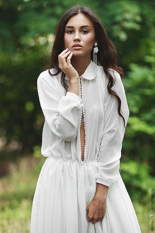 Baby doll wedding dress / Платье в пол. Длинное белое платье с длинными рукавами. Платье с вырезом. Платье вечернее повседневное красивое