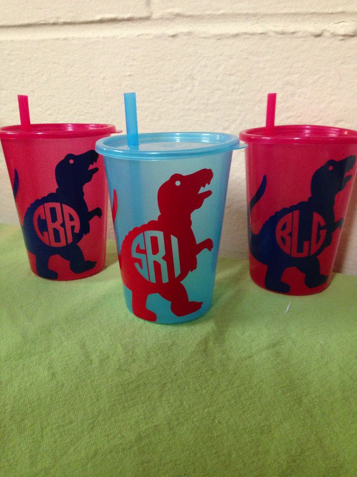 """Monogrammed Dinosaur Sippy Cups for a dinosaur party from @formonogramsake """"Because its not a party without a favor"""" -FMS"""
