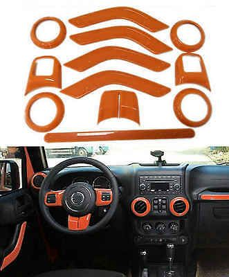 12pcs Orange Set Interior Decoration Trim Kit For Jeep Wrangler 4 Door 2011-2016