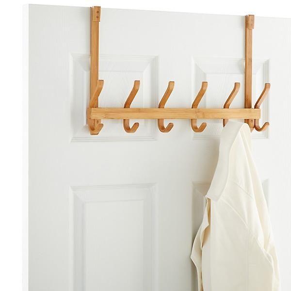 6 Hook Bamboo Door Hanger Bathroom Door Hooks Door Hooks Door Rack
