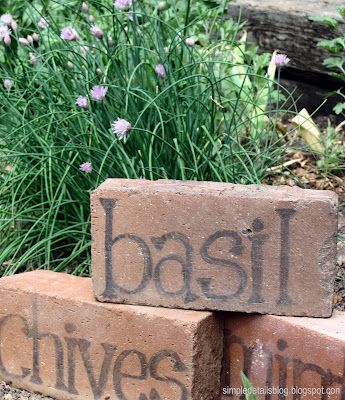 Got bricks?? Love this idea for marking herbs and other plants!!! I am sooo doing this!
