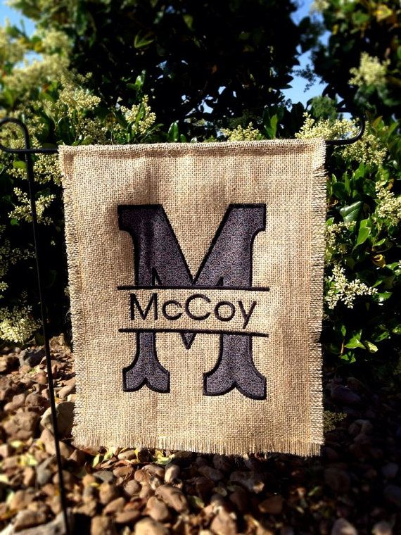 Personalized Garden Flag in Charcoal Gray (Etsy)