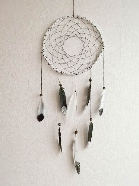 Dream Catcher - Black and White - With Painted Feathers, White Frame and Black Nett - Classic, Simple, Monocromatic - Home Decor, Mobile. $28.00, via Etsy.