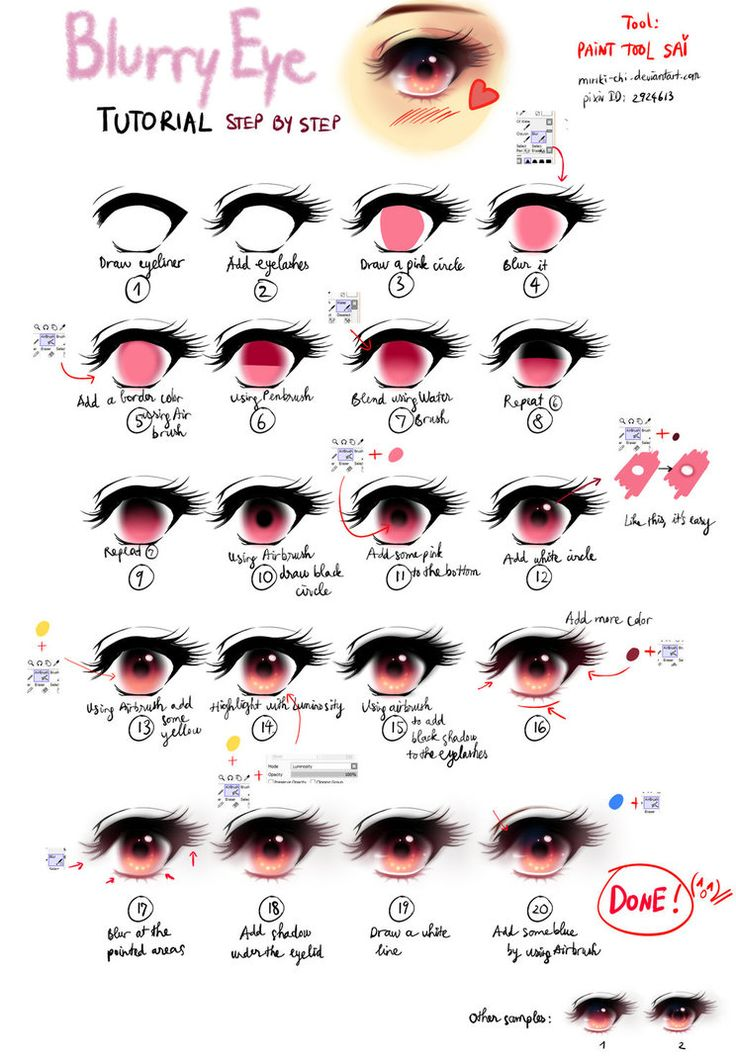 Blurry Eye tutorial by Miriki-Chi! Infograph you could print out and save in a notebook!