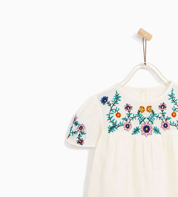 BLOUSE WITH FLORAL EMBROIDERY-SHIRTS-BABY GIRL | 3 months - 4 years-KIDS | ZARA United States