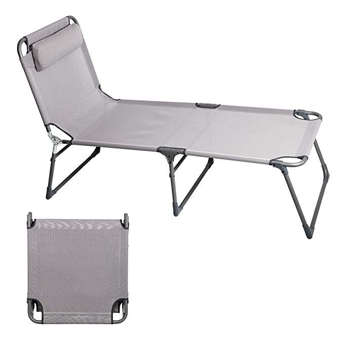 6e1ac79c6269 PORTAL Folding Camping Cot Patio Beach Poolside Chaise Lounge Chair Bed  Seat Height 15.75