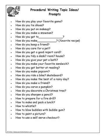 A List Of Procedural Writing Prompts