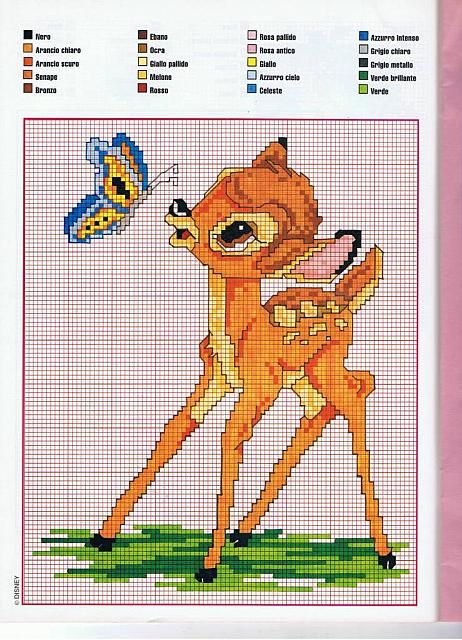 free cross stitch patterns Disney bambi | Bambi with a butterfly cross stitch…                                                                                                                                                                                 More