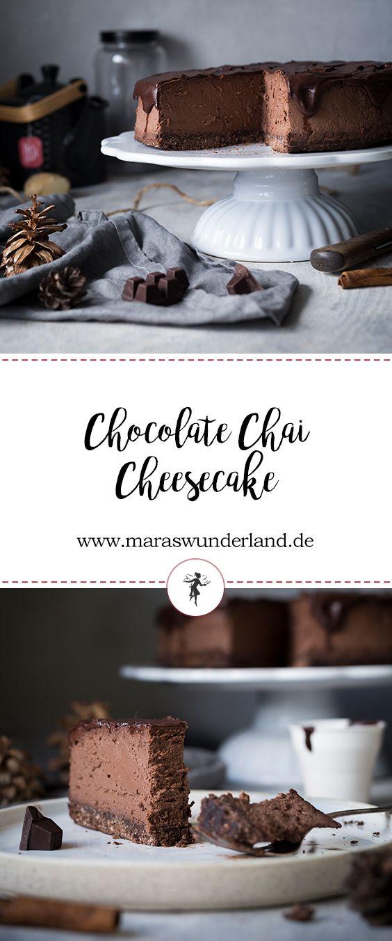 Rezept für einen Chocolate Chai Cheesecake. Mit Edelbitter Schokolade und gesundem Haferboden. Dazu Chai-Ganache. Perfekt für Herbst und Winter.