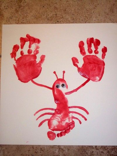 Orig pin lobster this is the darling lil for Hand and foot crafts