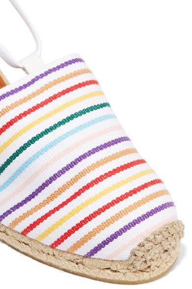 Castañer - Campesina Striped Canvas Wedge Espadrilles - White - IT38