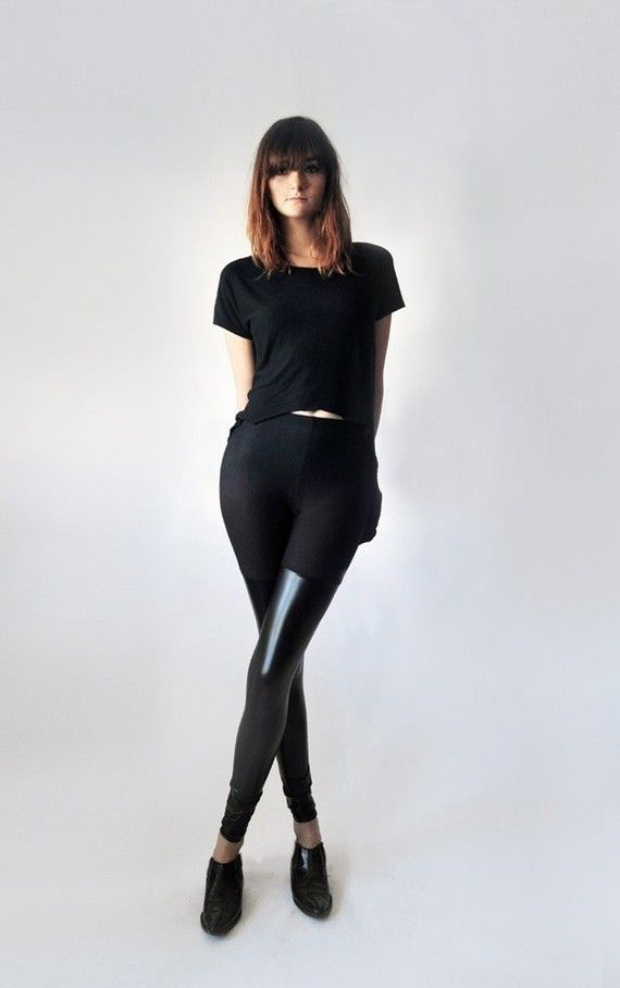 Over the knee faux leather panel leggings. by LeilanniLand on Etsy