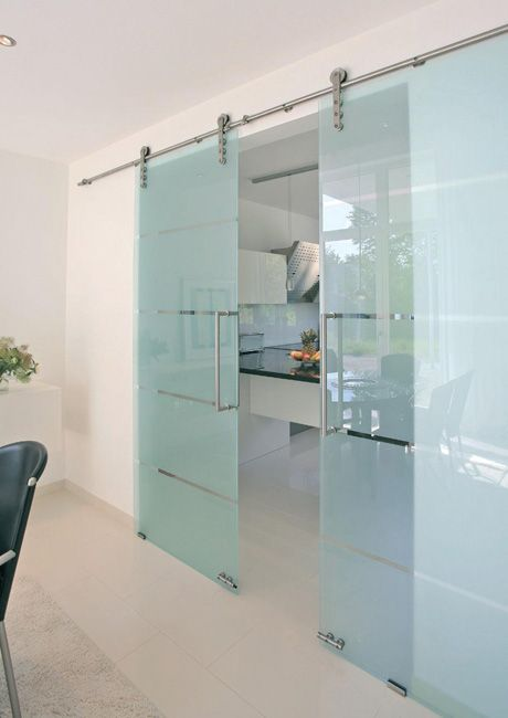 Stainless steel sliding door hardware looks great with the etched glass doors.