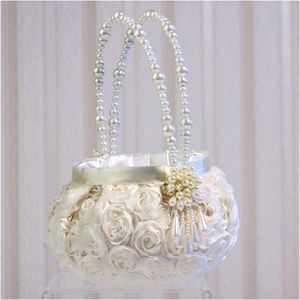 "WeddingDepot.com ~ Floral Garden Flower Girl Basket ~ The flower girl basket measures 8"" tall x 6"" wide.  Beautiful pearl bead handles flex for a cheerful basket that is fun to carry."