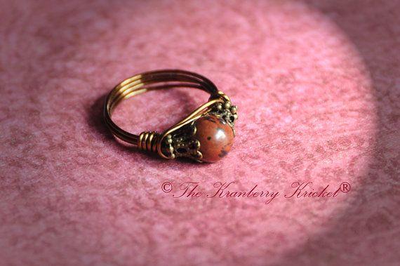 Mahogany Obsidian Ring Boho Ring Bohemian Ring by KranberryKricket