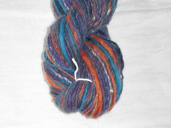 Handspun, Hand Dyed Soft Merino Silk Art Single Yarn.