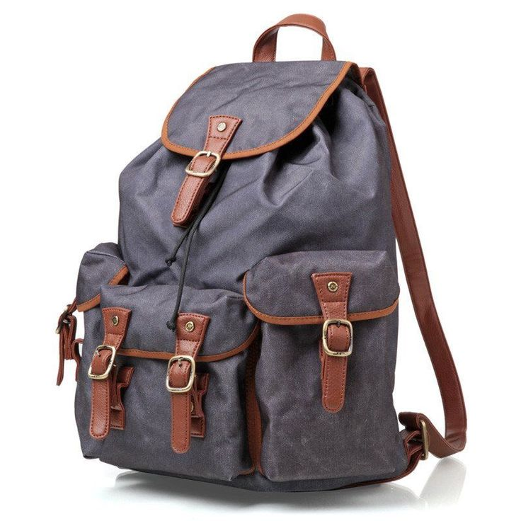 Waterproof Blue Canvas Travel Backpack School Backpack Men's Backpack Cool Hiking Backpack FB15