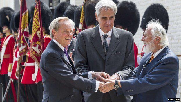 The present Duke of Wellington, Prince Charles Bonaparte and Prince Blucher von Wahlstatt share a tripartite handshake