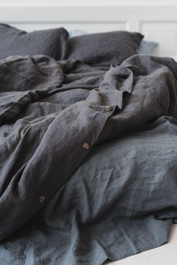 Softened Linen Bedding Graphite Gray Bed Linen Linen Duvet Cover Set Washed Linen Bedding Linen Sh Bed Linen Sets Linen Duvet Covers Grey Linen Bedding