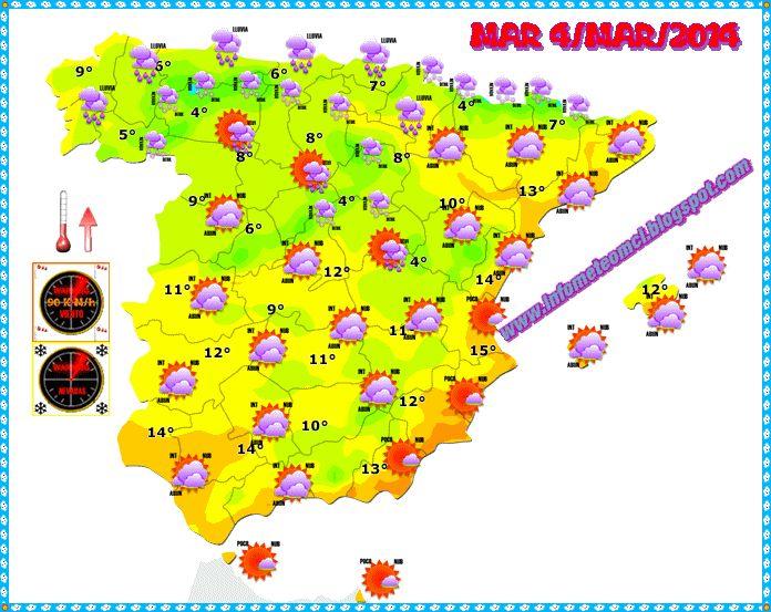 ¿ COMO HARÁ MAÑANA MARTES 4/MAR/2014 ? , ¿ LLOVERÁ EN TU CIUDAD ? AVERIGUALO AQUI !!..  INFORMACION DE INTERES GENERAL - COMPARTEME !!  prevision detallada en : www.infometeomcl.blogspot.com  VOTA NUESTRO BLOG : http://plumeame2.blogspot.com.es/2014/01/infometeomcl-plumeame.html