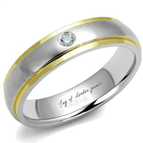 Men or Ladies Wedding Gold Stainless Russian lab Diamond Bands Ring
