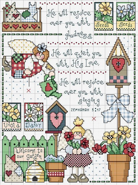 Schema punto croce Motivi Giardino