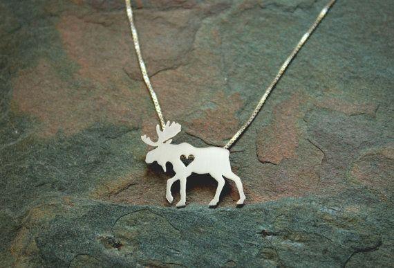 Moose ketting elanden sterling zilver kleine door JustPlainSimple