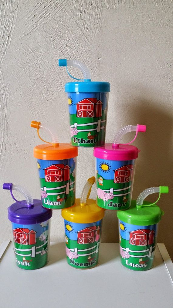 Package Includes: • 6 Farm Animals Personalized Party Favor Sippy Cups • Inserts are printed on High Quality Photo Paper and laminated for protection. • Inserts are hand cut and have to be removed fro