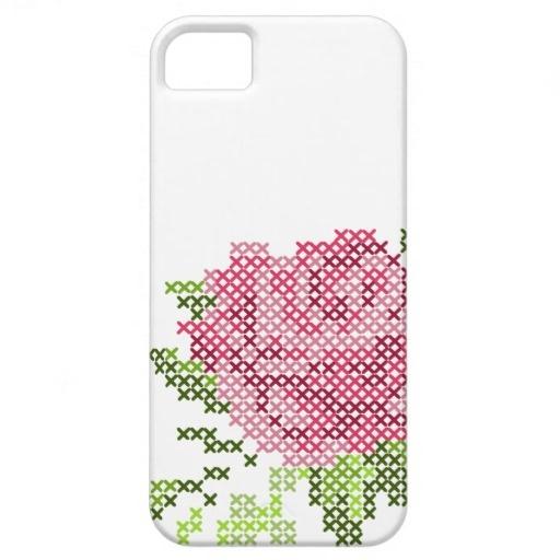 Cross Stitch Rose iPhone 5 Case