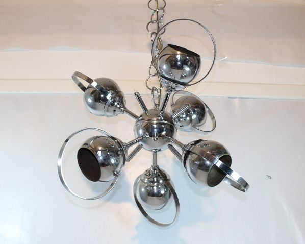 Lampadario SPUTNIK 70 s Deckenlampe/Chrom Kugeln/Ceiling Lamp light/7 Lights
