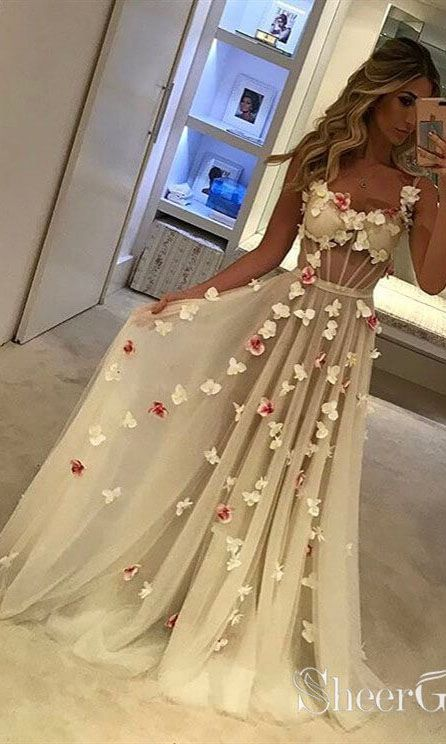 See Through Bodice Long Prom Dresses Butterfly Applique Formal Dress ARD1983