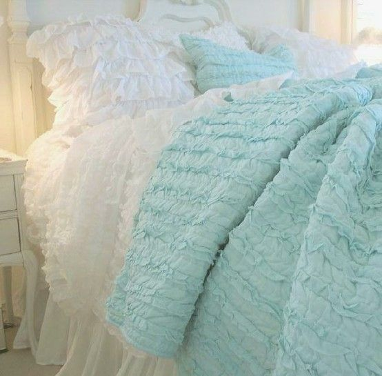 Dreamy & Cozy Bedding: Decor, Ideas, Aqua Blue, Shabby Chic, Ruffles Quilts, Colors, Cottages, Beds Linens, Bedrooms