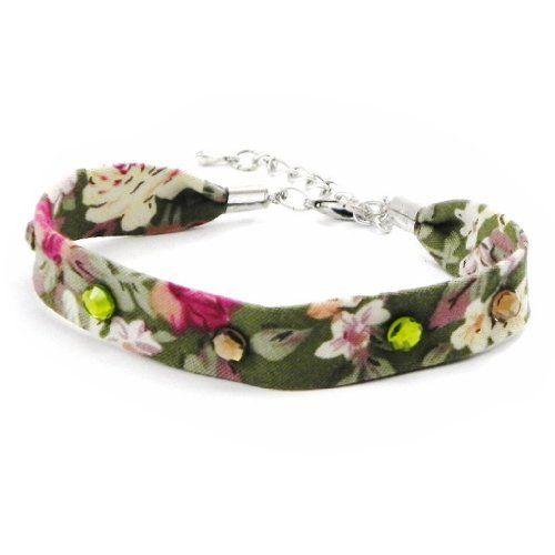 "Bracelet ""Liberty"" green pink rhinestone. Les Tresors de Lily. $16.00"