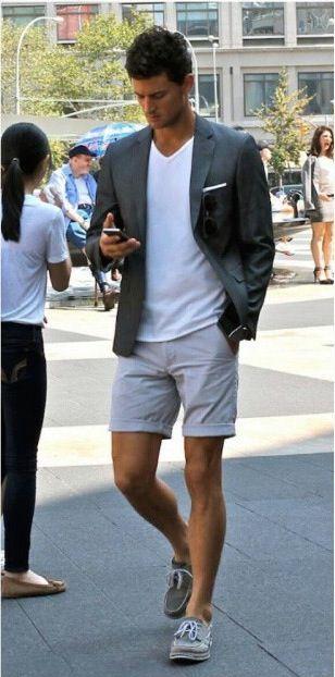 dark gray blazer. white tee. khaki shorts. gray Sperrys. white pocket square. shades. casual. style.