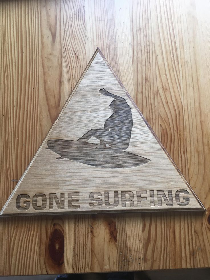 custom wooden gone surfing triangle sign, oil finished by FirwoodCD on Etsy