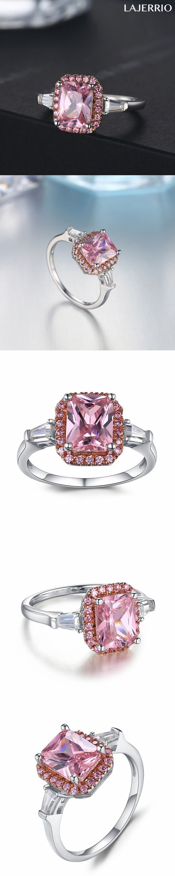 Lajerrio Jewelry Radiant Cut Pink Sapphire S925 Engagement Ring