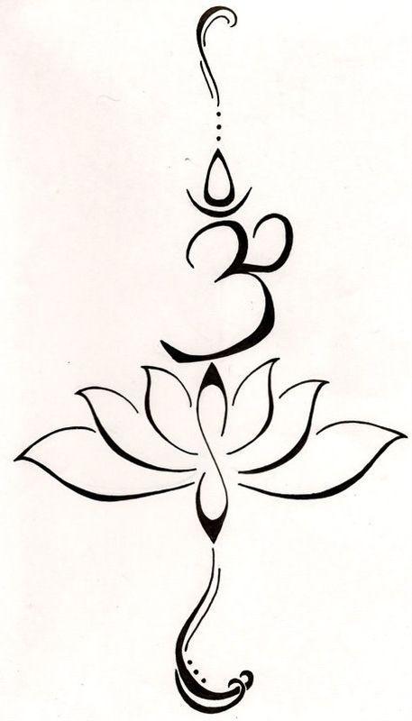A lotus to represent a new beginning, or a hard time in life that has been overcome and the symbol Om comes from the Buddhist mantra to stand for love, kindness and protection...this symbol is also said to purify hatred and anger. by Caroline C.