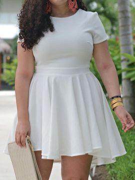 Shop White Ruffle Chiffon Plus Size Skater Dress from choies.com .Free shipping Worldwide.$19.99