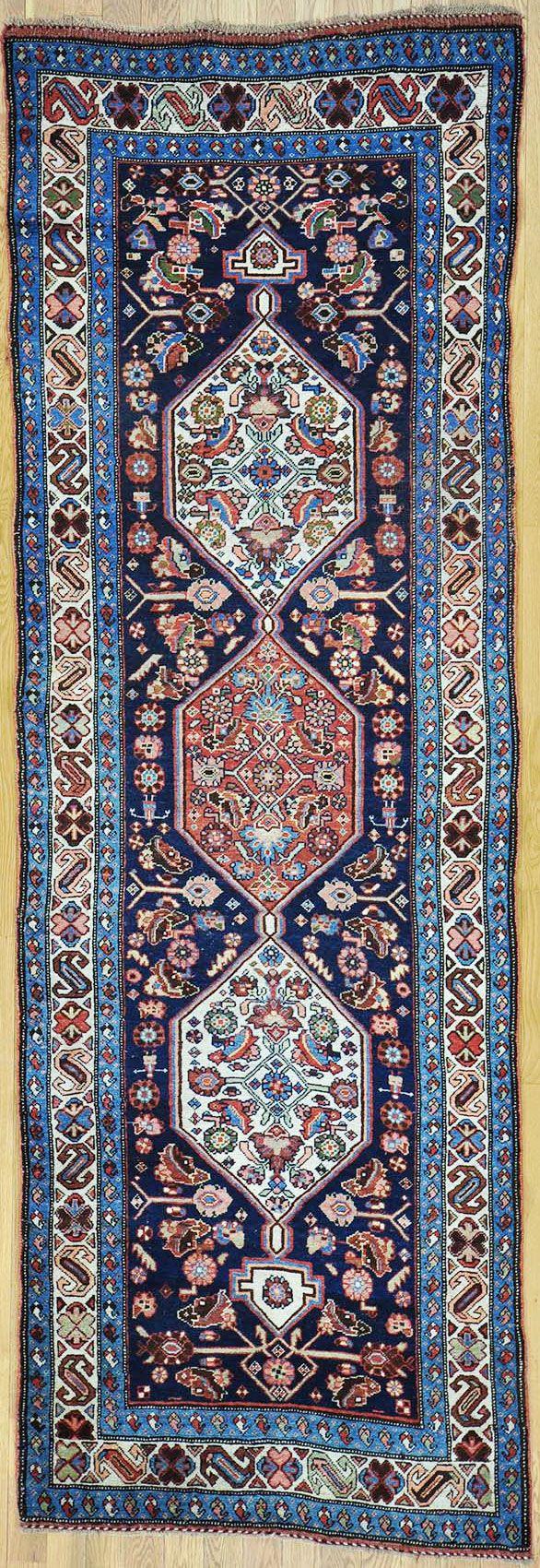 "Buy Hand Knotted Bijar Persian Rug 3' 7"" x 10' 9"" at OLDCARPET"