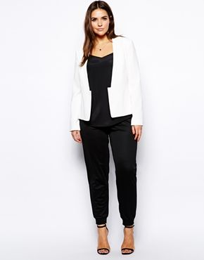 Image 4 of ASOS CURVE Blazer With Cropped Lapel And Split Hem