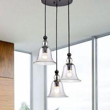 Farmhouse Chandelier Hanging Lamp Set Round Light Fixture Rustic Ceiling Pendant