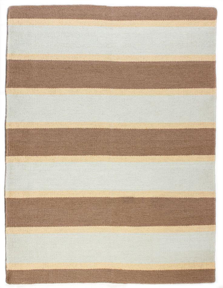 Currituck Wool Berber Striped Rug Maine Cottage