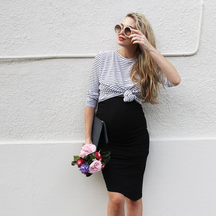 Black Maternity Skirt - Not So Mumsy 3 - Above: 'Let It Be L/S Tee' worn over 'Stay Up Late Skirt' - BAE Maternity