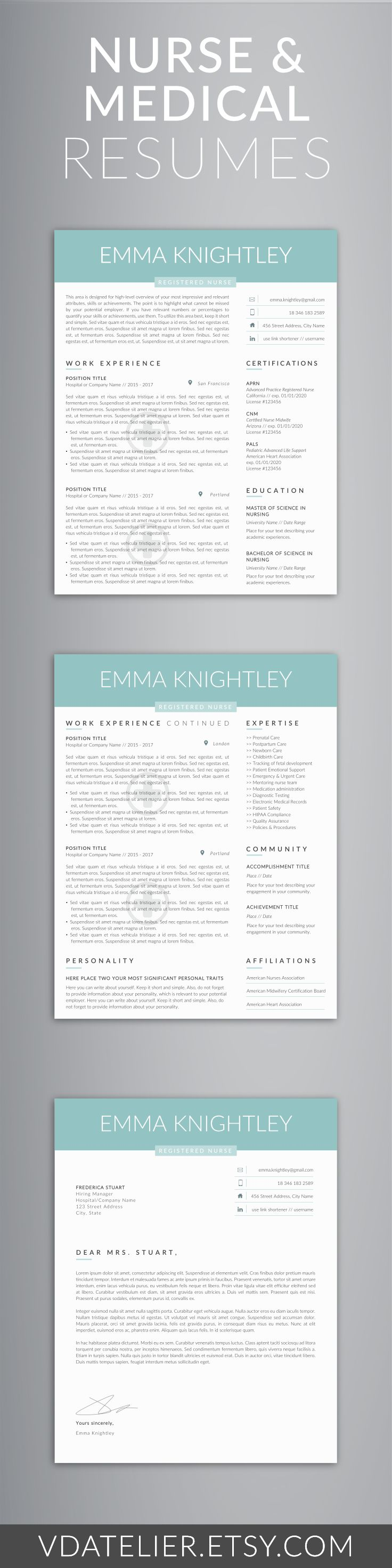 Doctor Resume Template for Word, Nurse Resume Template | Nurse CV Template | RN Resume, Medical Resume | US Letter & A4 | 1,2,3 Page Resume