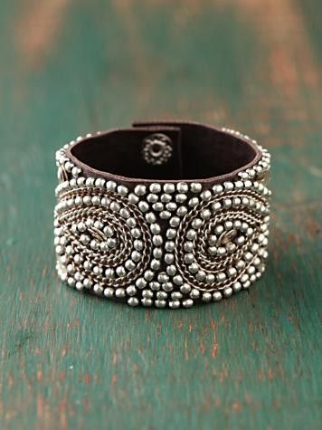 . by margo: Cuffs Bracelets, Silver Beads, Leather Cuffs, Beads Cuffs, Jewelry, Free People, Accessories, Leather Bracelets, Silver Cuffs