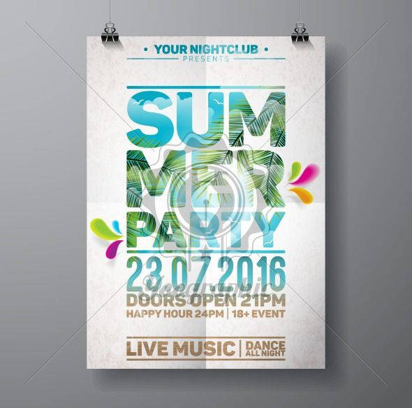 Vector Summer Beach Party Flyer Design with palm leaves and typographic elements on ocean landscape background. - Royalty Free Vector Illustration